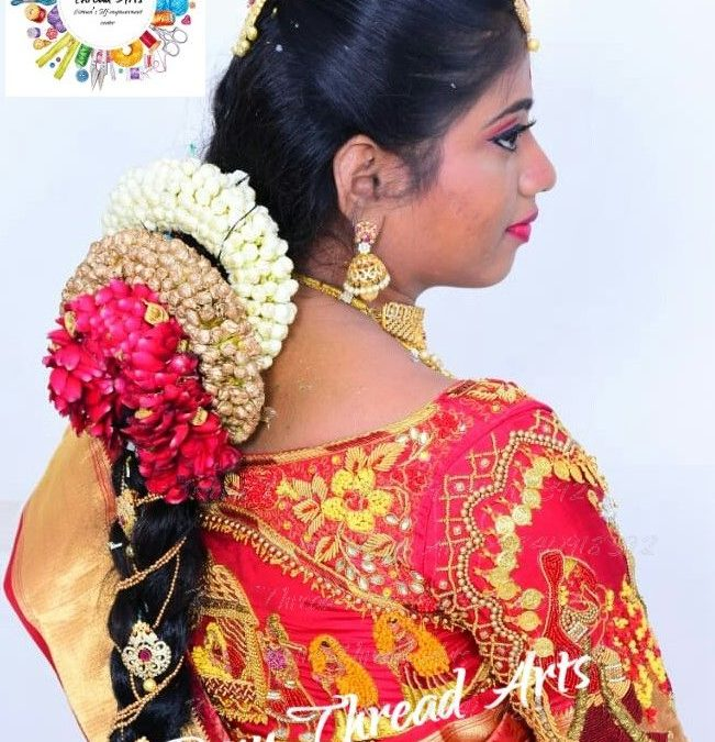 Pallakku design aari work on bridal blouse with perfect outfit