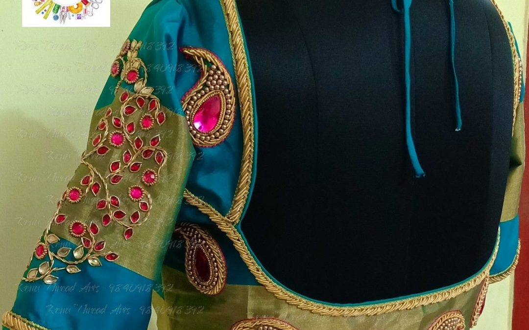 Designer aari work on bridal blouse with perfect outfit for our customer