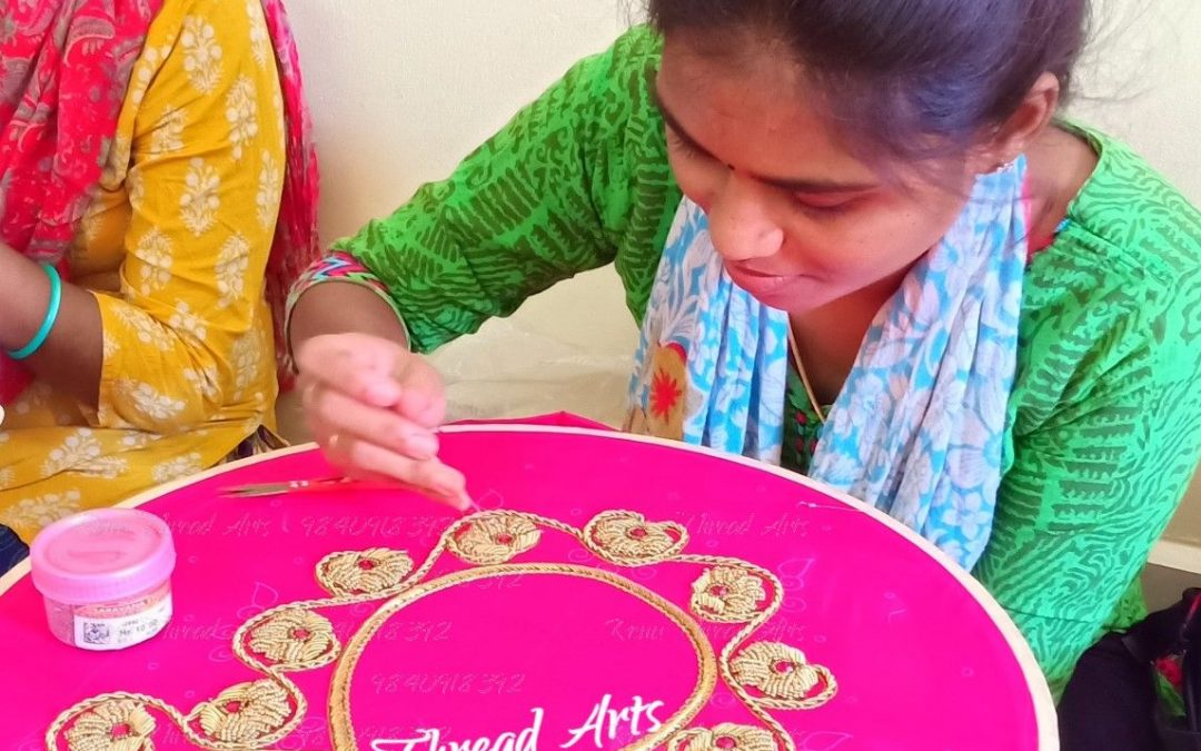 Aari student Sowndarya's first blouse superb work