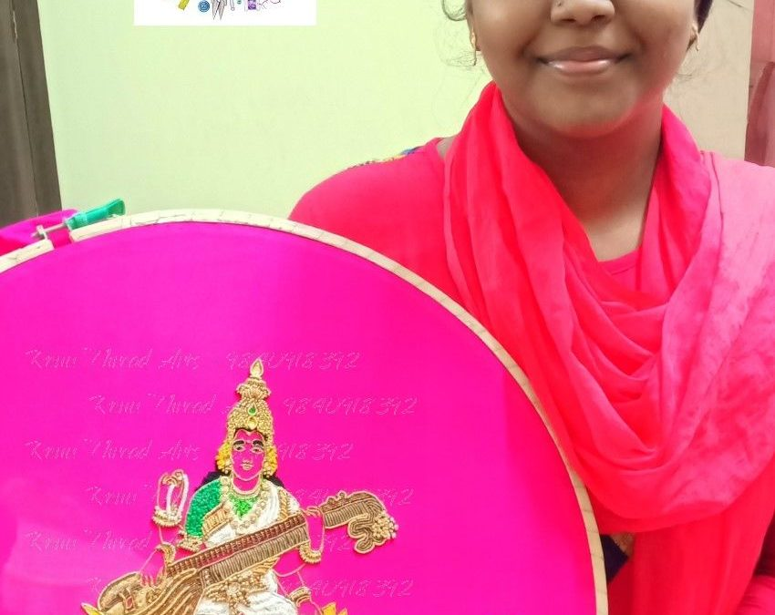 God Saraswathi in Aari work by student Priyanka – Superb work