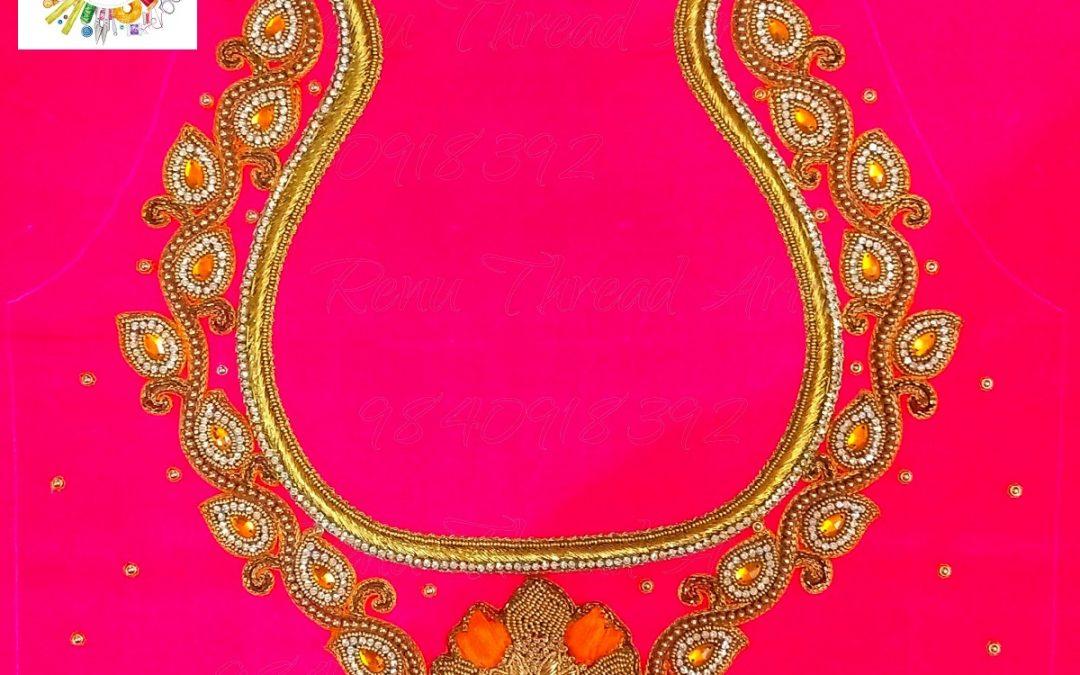 Customized Aari embroidery work for our happy customer Ms.Vijaya's bridal blouse
