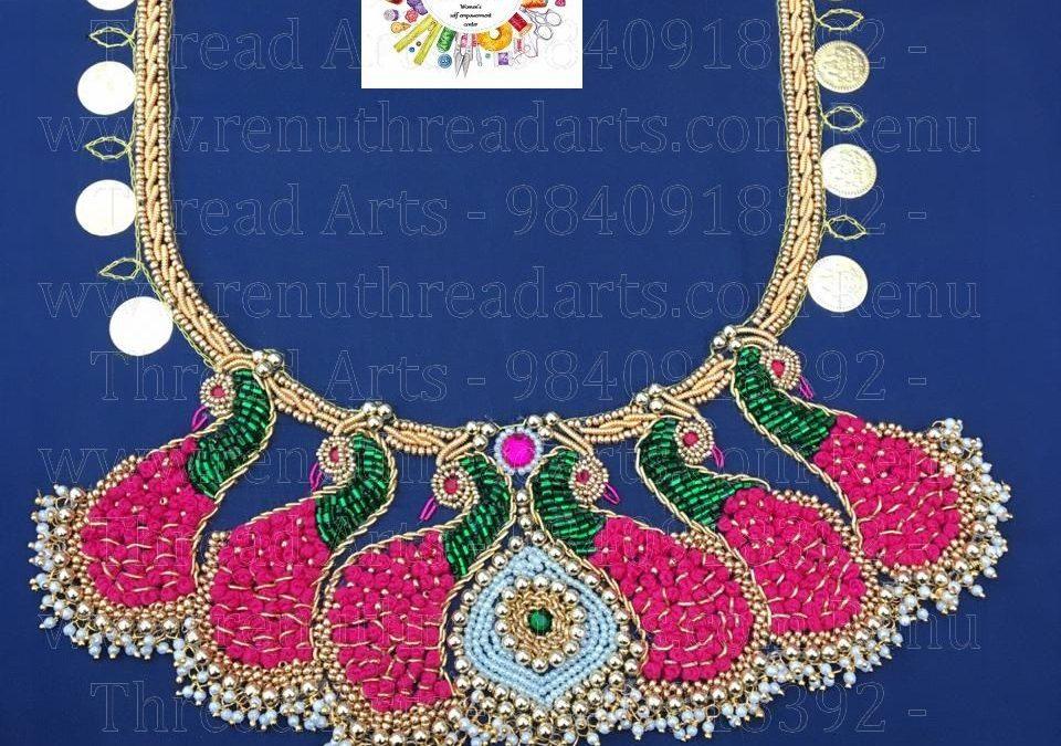 Renu thread arts – Aari hand embroidery student Priya's Lovely Aari work