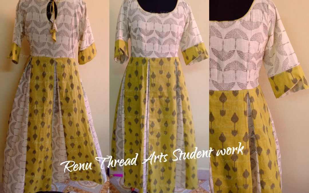 Pannel with inverted box pleat Long gown – Student Ramya's superb work