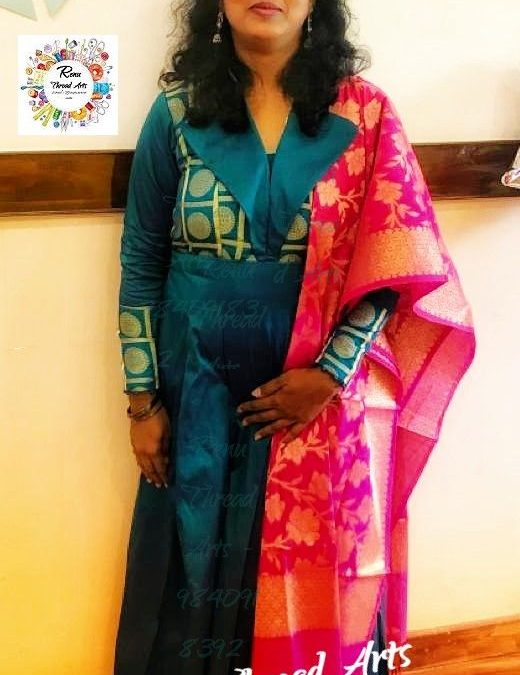 Designer Anarkali with perfect outfit – Student Sushmitha's Superb work