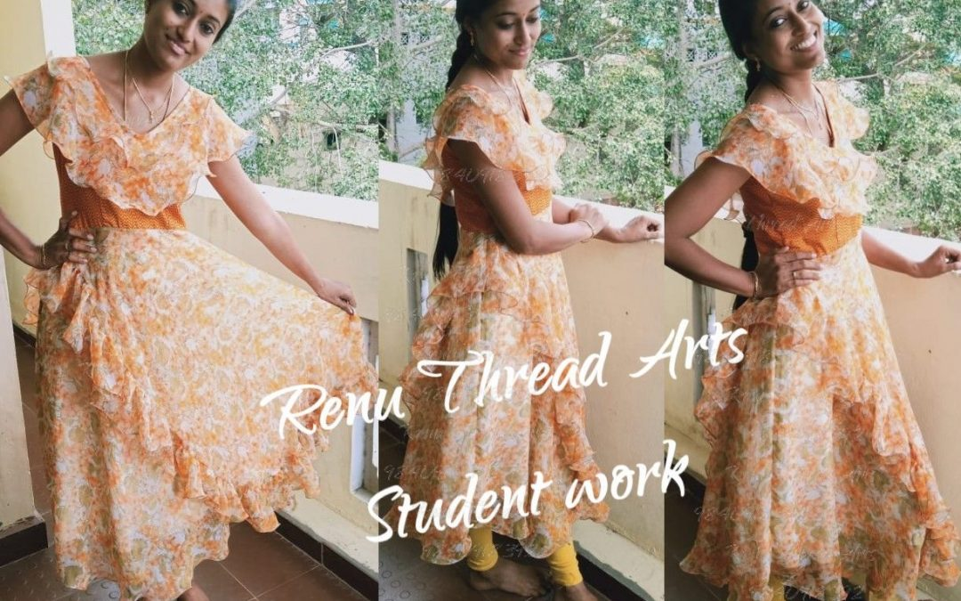 Designers ruffles maxi by student Ramya with perfect outfit – Superb work