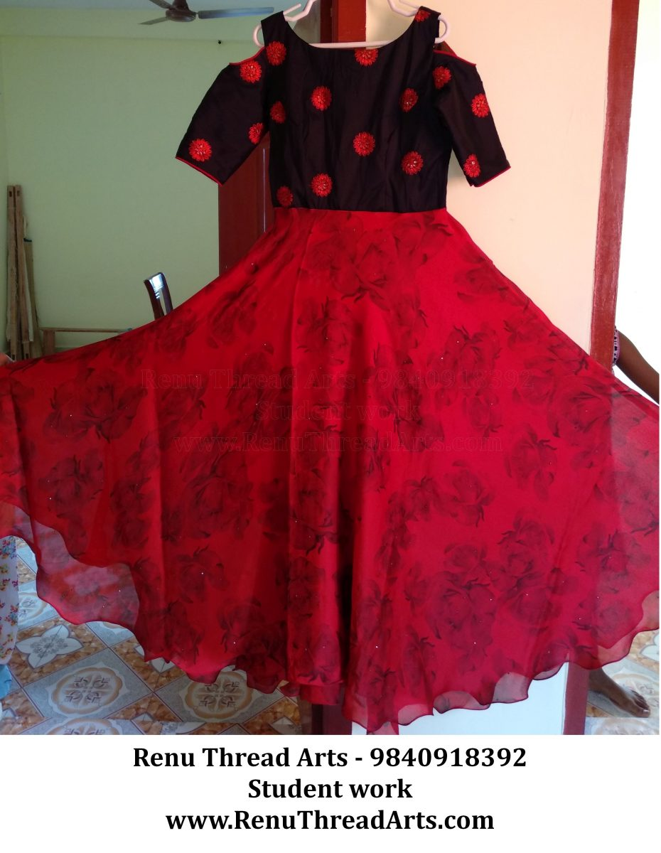 Anarkali with cold sleeves self stitched by our Student