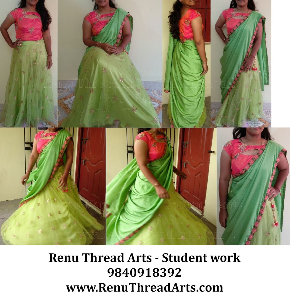 Unique neck crop top with half saree model or lehanga self stitched by our Student