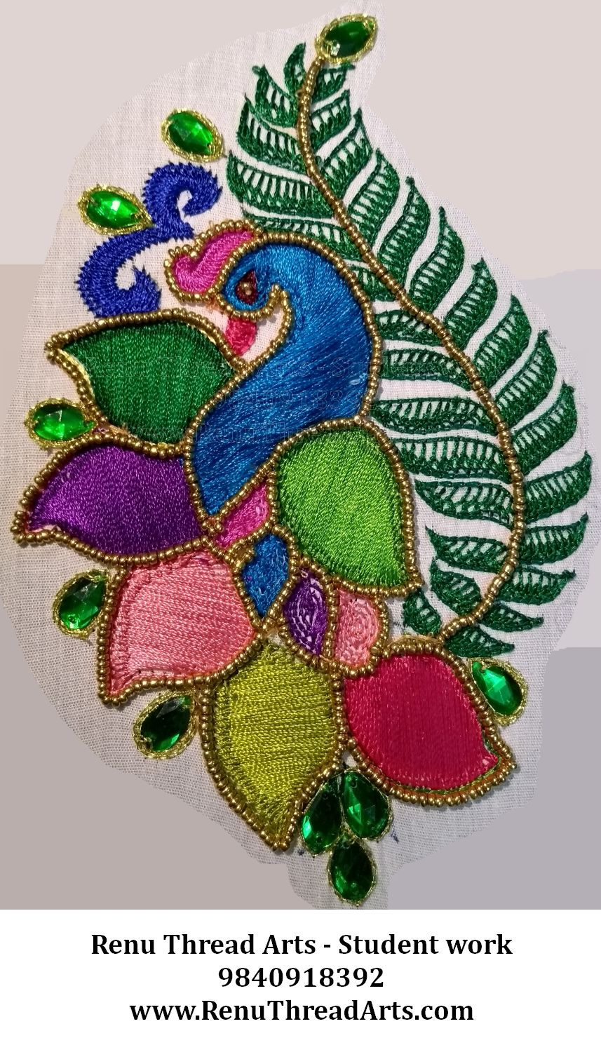 Aari embroidery basic level student project work with neat finish