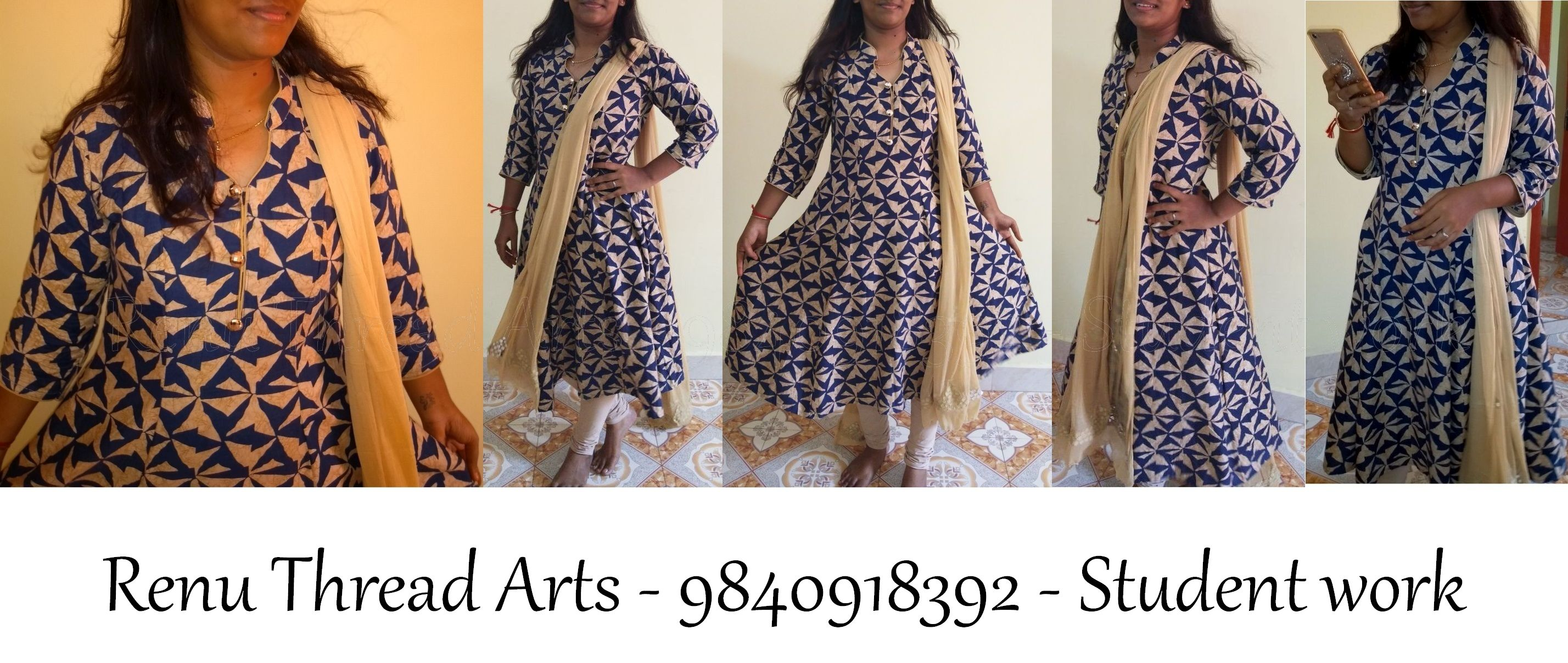 Panelled Anarkali with neck pattern stand collar