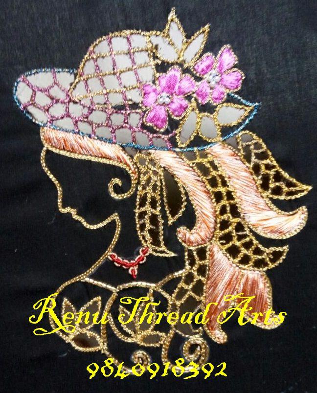 Cut work, embossed load stitch, kardhana bead work, zardosi chain stitch in this pattern