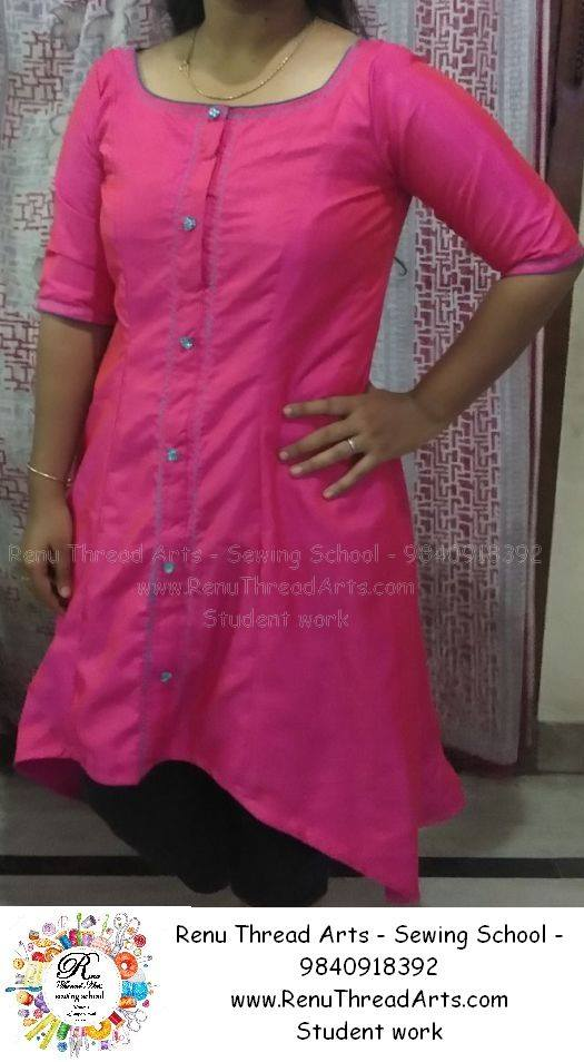 Shallow Neck With High Low Simple Machine Embroidery Kurthi Self